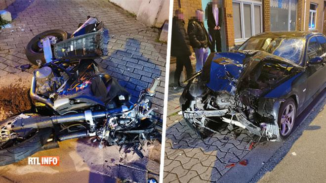 Collision frontale entre une moto et une BMW à Jumet: le motard a été projeté à plusieurs mètres