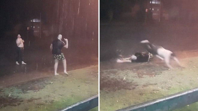 Après des mois de sécheresse en Australie, ces deux hommes dansent sous la pluie