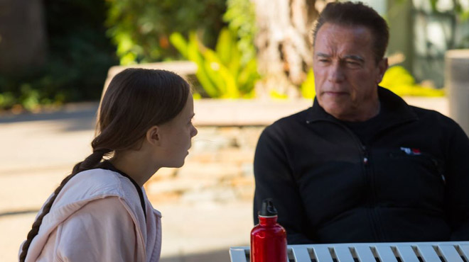 Rencontre entre Arnold Schwarzenegger et Greta Thunberg pour une balade à vélo (photos)