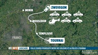 FOLLE course-poursuite à Tournai- les voleurs roulent à contresens sur l'autoroute et finissent à moitié nus dans un champ