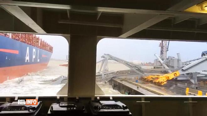 Un navire de 328 mètres de long percute une grue au port d'Anvers- la scène impressionnante a été filmée 1