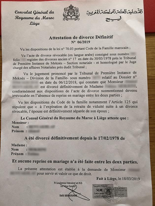 Attestation divorce consulat marocain