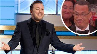 Venez prendre votre petit prix et barrez-vous- la réaction de Tom Hanks au discours BRUTAL de Rick Gervais vaut de l'or (vidéo)
