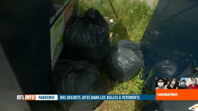 Coronavirus en Belgique- ils jettent leurs déchets et ordures ménagères dans les conteneurs pour vêtements