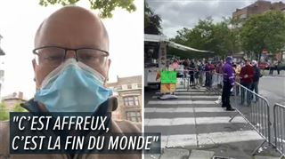 Coronavirus- marché de Charleroi quasi vide mais énorme file à l'extérieur, la colère d'un vendeur