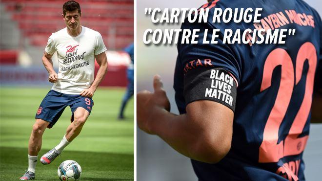 À l'échauffement, les joueurs du Bayern lancent un message contre le racisme- #BlackLivesMatter inscrit sur leur maillot 1