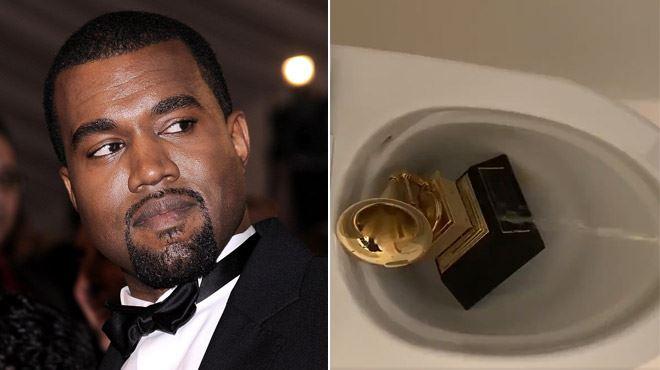 Nouveau pétage de câble de Kanye West- il se filme en train d'URINER sur un Grammy Award (vidéo)
