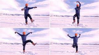 Heureux d'être vacciné contre le Covid-19, il danse la joie sur un lac gelé (vidéo)