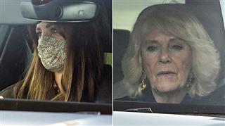 Kate et Camilla, visages fermés, font leur première apparition publique depuis l'interview de Meghan et Harry (photos)