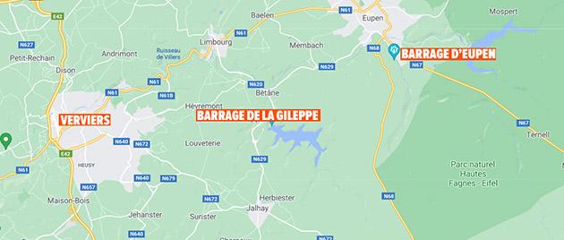 carte-google-barrages-gileppe-eupen-verviers