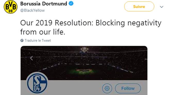 """""""Notre résolution pour 2019"""": l'énorme tacle de Dortmund sur Twitter (photo)"""