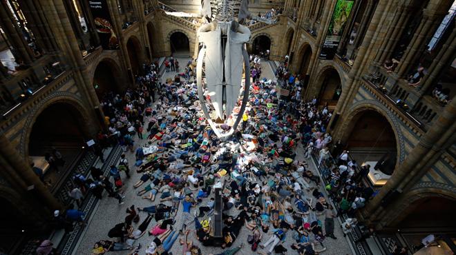 """Grande-Bretagne: les manifestants pour le climat simulent une """"mort massive"""" au Musée d'Histoire Naturelle de Londres (photos)"""