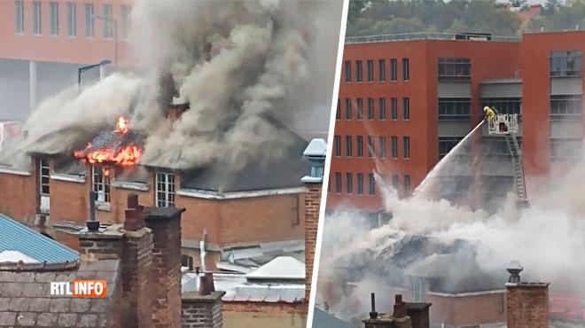 Spectaculaire incendie à Namur: un incendie a ravagé un bâtiment près des Archives de l'Etat (photos)