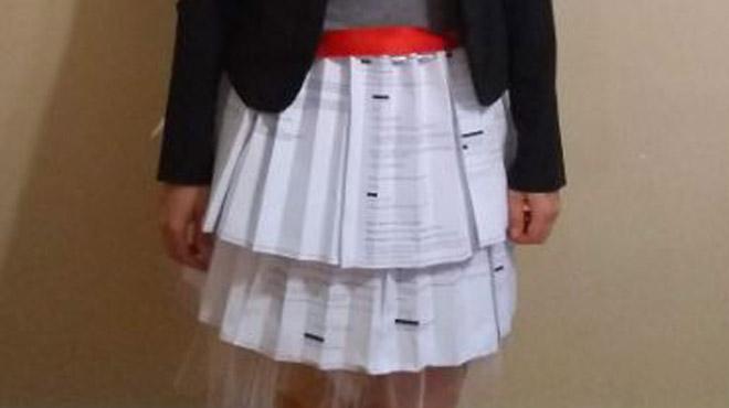 Une doctorante défend sa thèse avec une jupe composée de ses lettres de refus (photo)