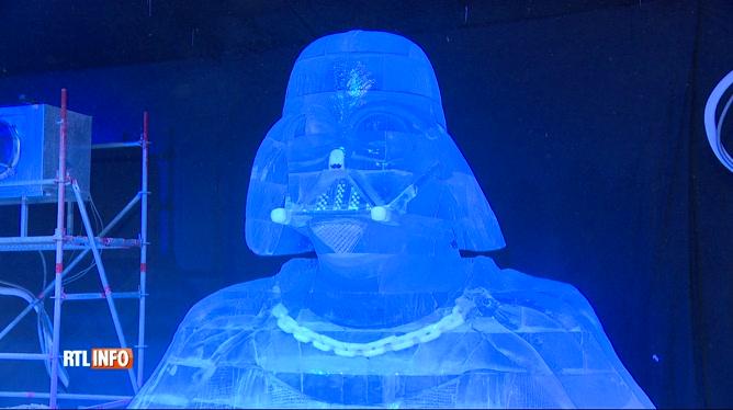 Liège: 60 personnages de Star Wars transformés en statues de glace à l'Esplanade des Guillemins