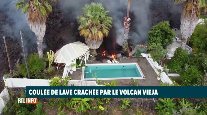 Un drone filme l'éruption volcanique aux Canaries: la lave à quelques mètres d'une piscine