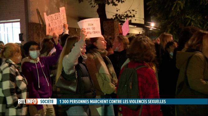 Manifestation contre les violences sexuelles à Ixelles, hier soir