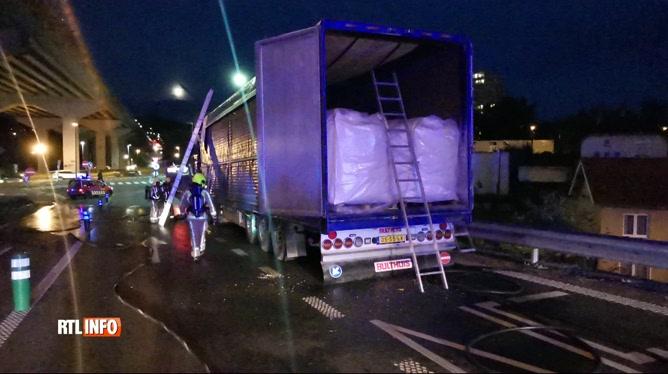 Un camion en feu provoque de gros embouteillages à Couillet